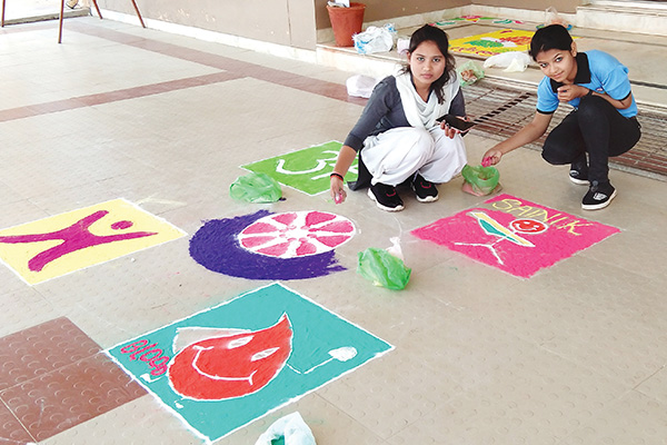 Rangoli by NSS Volunteers